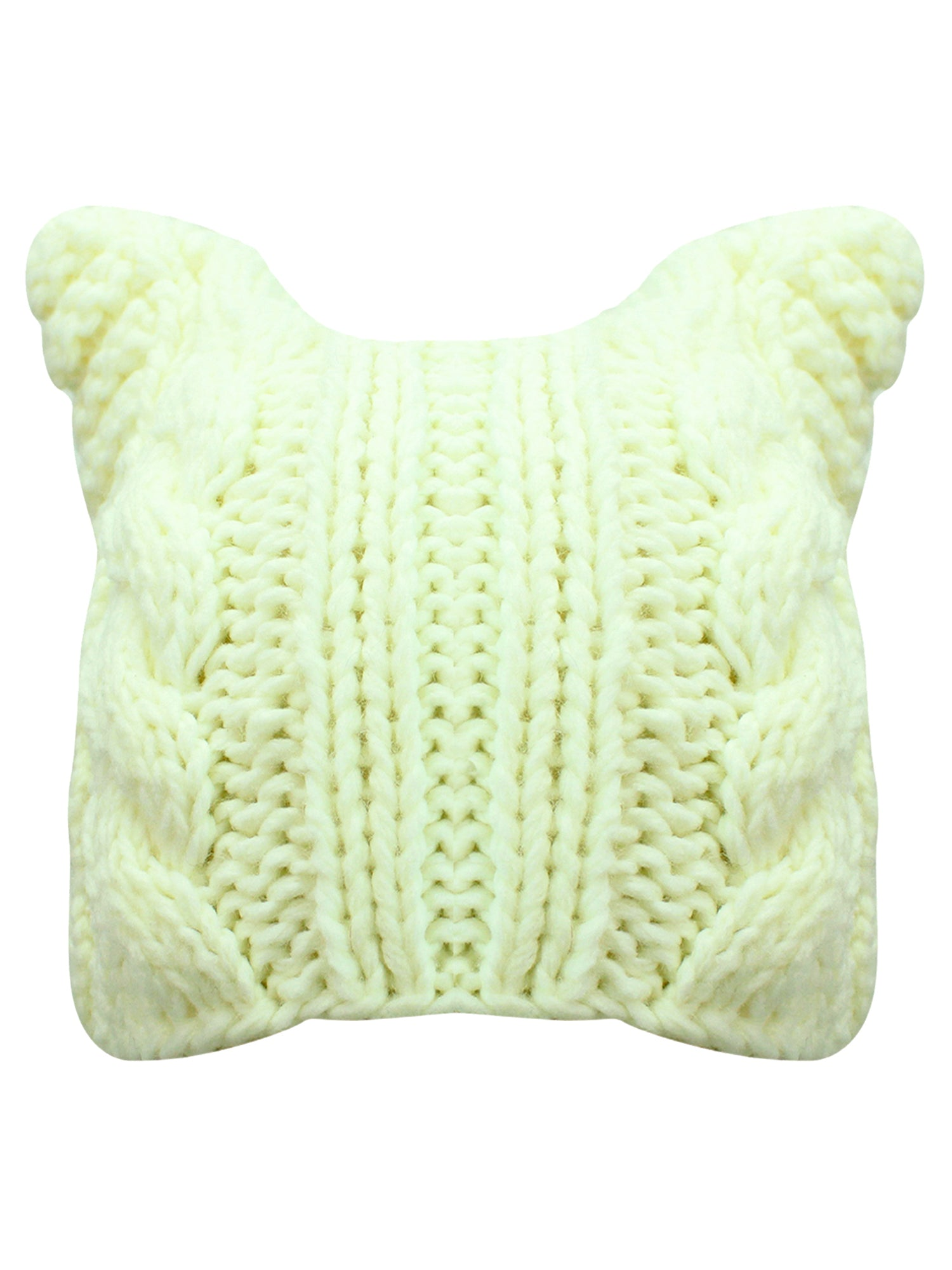White Cable Knit Beanie Hat With Pussy Cat Ears