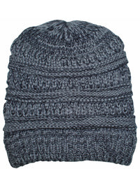 Gray & Black Two Tone Knit Slouchy Unisex Beanie Hat