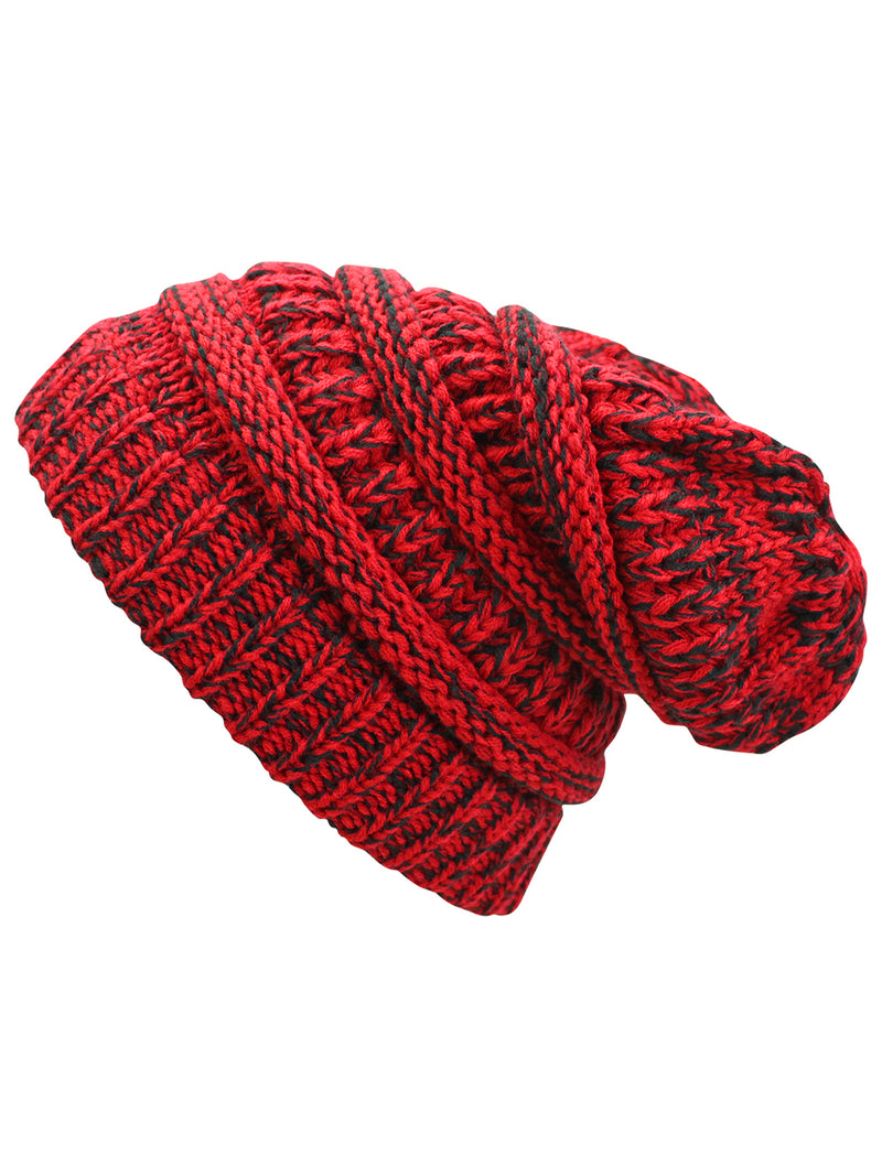 Red & Black Two Tone Knit Slouchy Unisex Beanie Hat