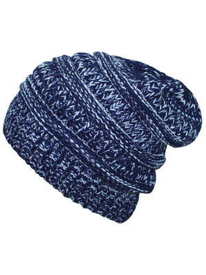 Navy Blue & White Two Tone Knit Slouchy Unisex Beanie Hat