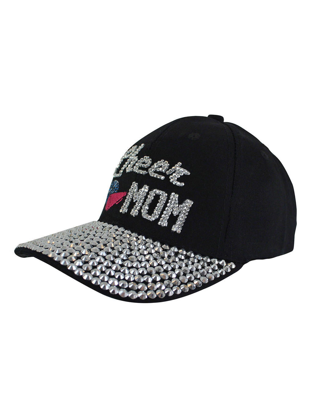 Cheer Mom Black Rhinestone Baseball Cap