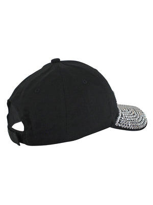Tennis Mom Black Rhinestone Baseball Cap