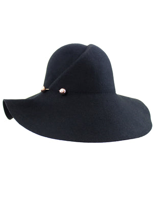 Black Wool Floppy Hat With Pinned Brim