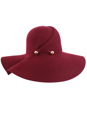 Burgundy Wool Floppy Hat With Pinned Brim