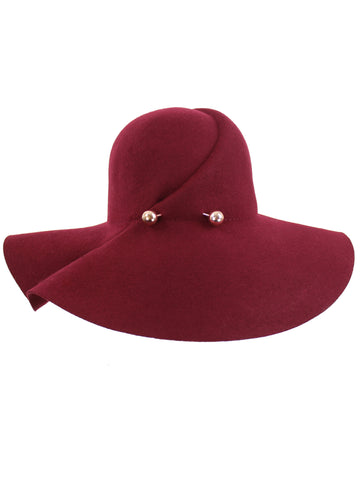Wool Floppy Hat With Pinned Brim
