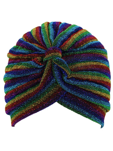 Metallic Striped Turban Head Wrap Cap