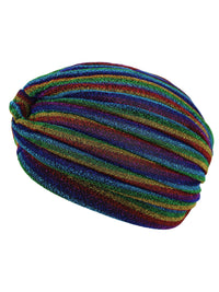 Rainbow Metallic Striped Turban Head Wrap Cap