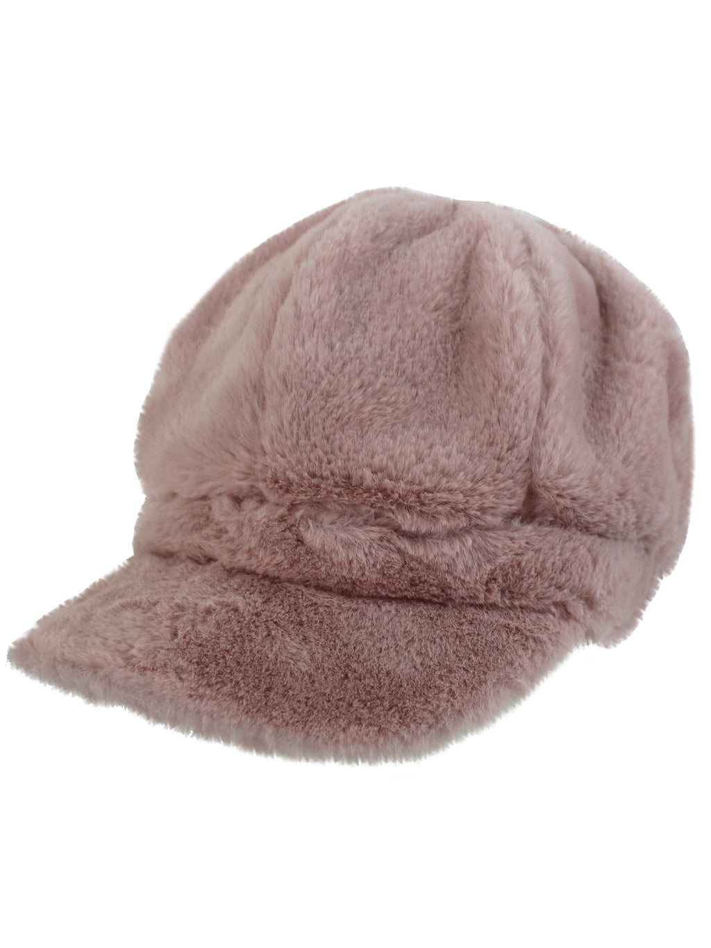 Blush Pink Faux Fur Cabbie Newsboy Hat