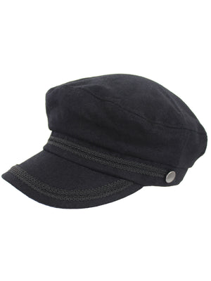 Black Wool Fisherman Cabbie Hat