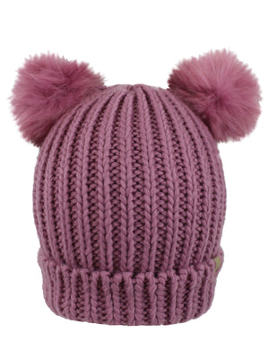 Dusty Pink Knit Beanie Hat With Pigtail Pom Poms