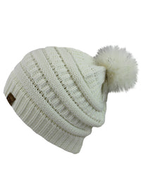 Off White Halo Ribbed Slouch Hat With Fur Pom Pom