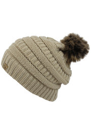 Beige Halo Ribbed Slouch Cap Hat With Fur Pom Pom