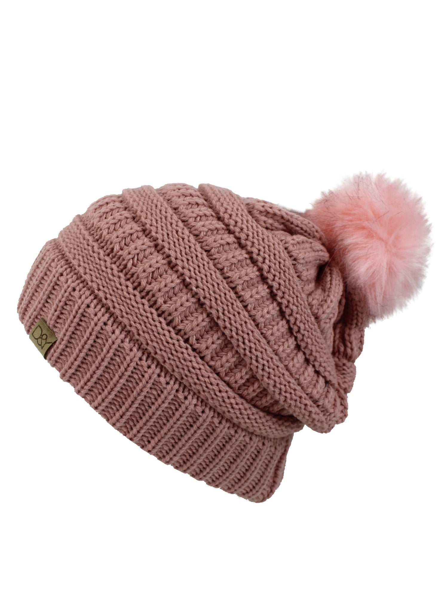 Blush Pink Halo Ribbed Slouch Hat With Fur Pom Pom