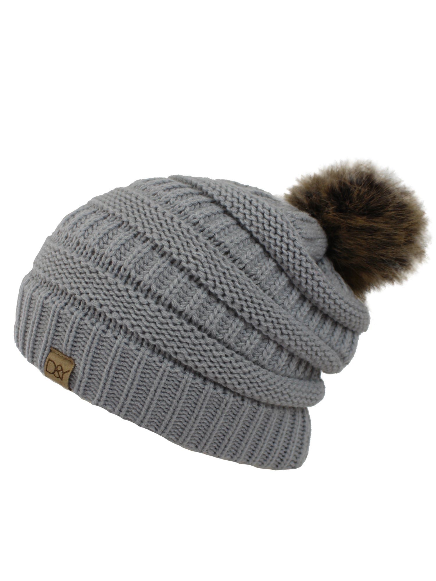 Light Gray Halo Ribbed Slouch Hat With Fur Pom Pom