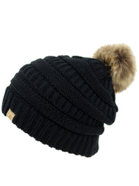 Black Halo Ribbed Slouch Hat With Fur Pom Pom