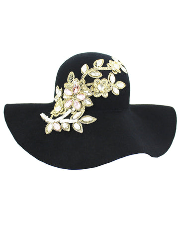 9705fa6c014 Black Wool Floppy Hat With Rhinestone Flower Embellishment ...