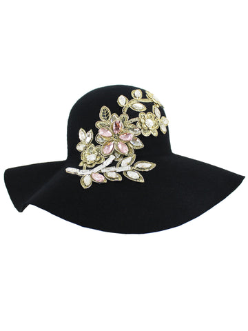 07bc20e214a ... Black Wool Floppy Hat With Rhinestone Flower Embellishment ...