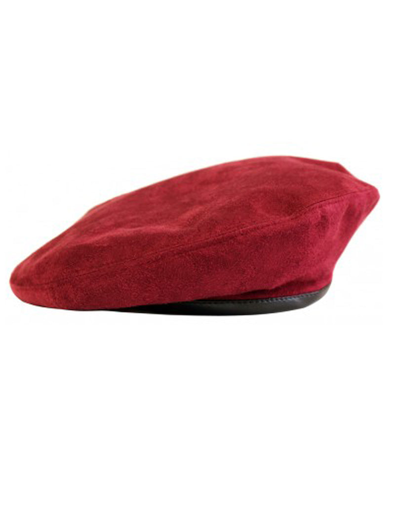 Faux Suede Burgundy Beret With Faux Leather Band