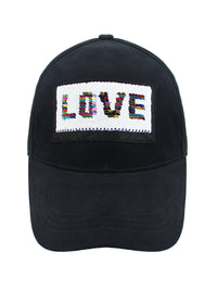 Love Trimmed In Sequins Black Baseball Cap Hat