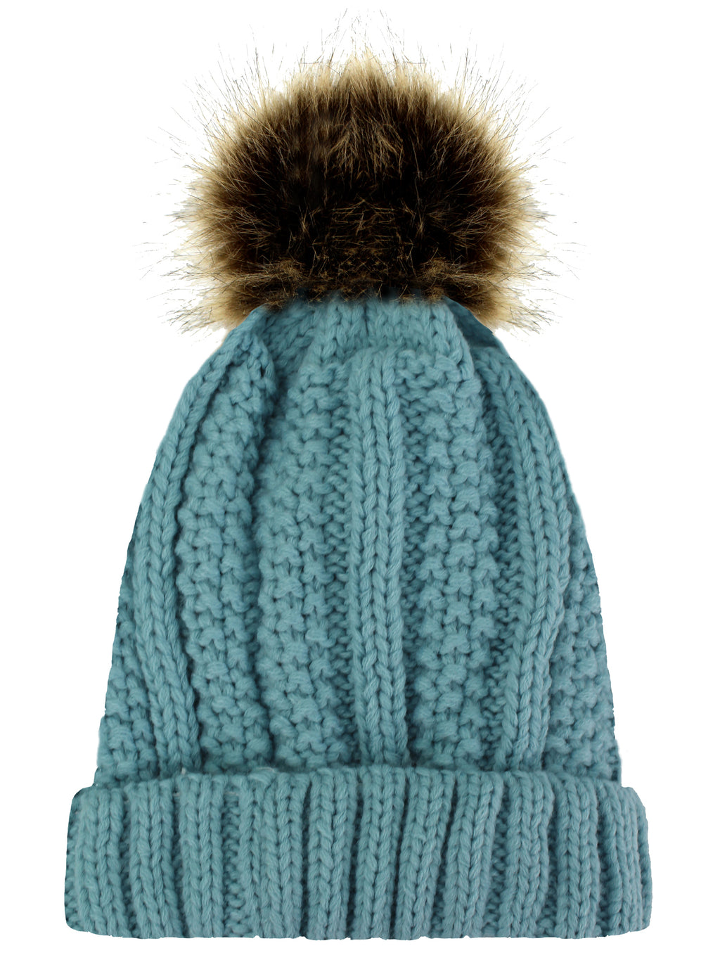 Blue Ribbed Beanie Cap With Fur Pom Pom
