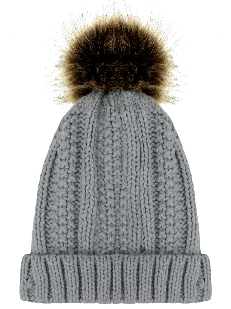 Gray Ribbed Beanie Cap With Fur Pom Pom