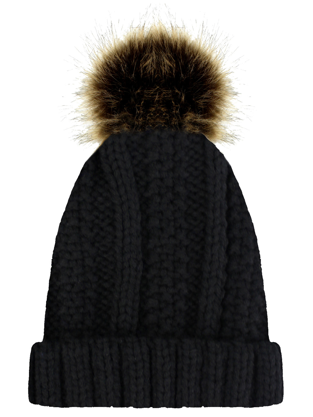 Black Ribbed Beanie Cap With Fur Pom Pom