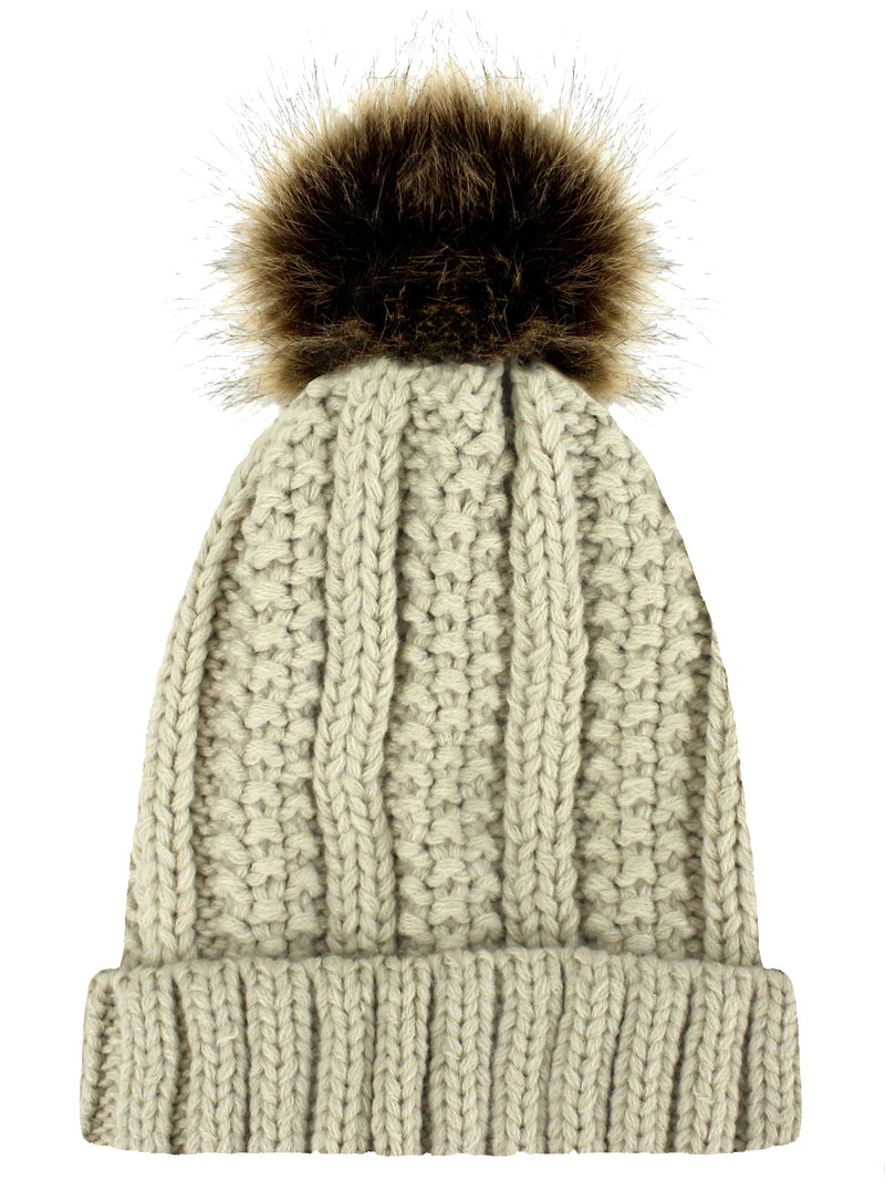 Beige Ribbed Beanie Cap With Fur Pom Pom