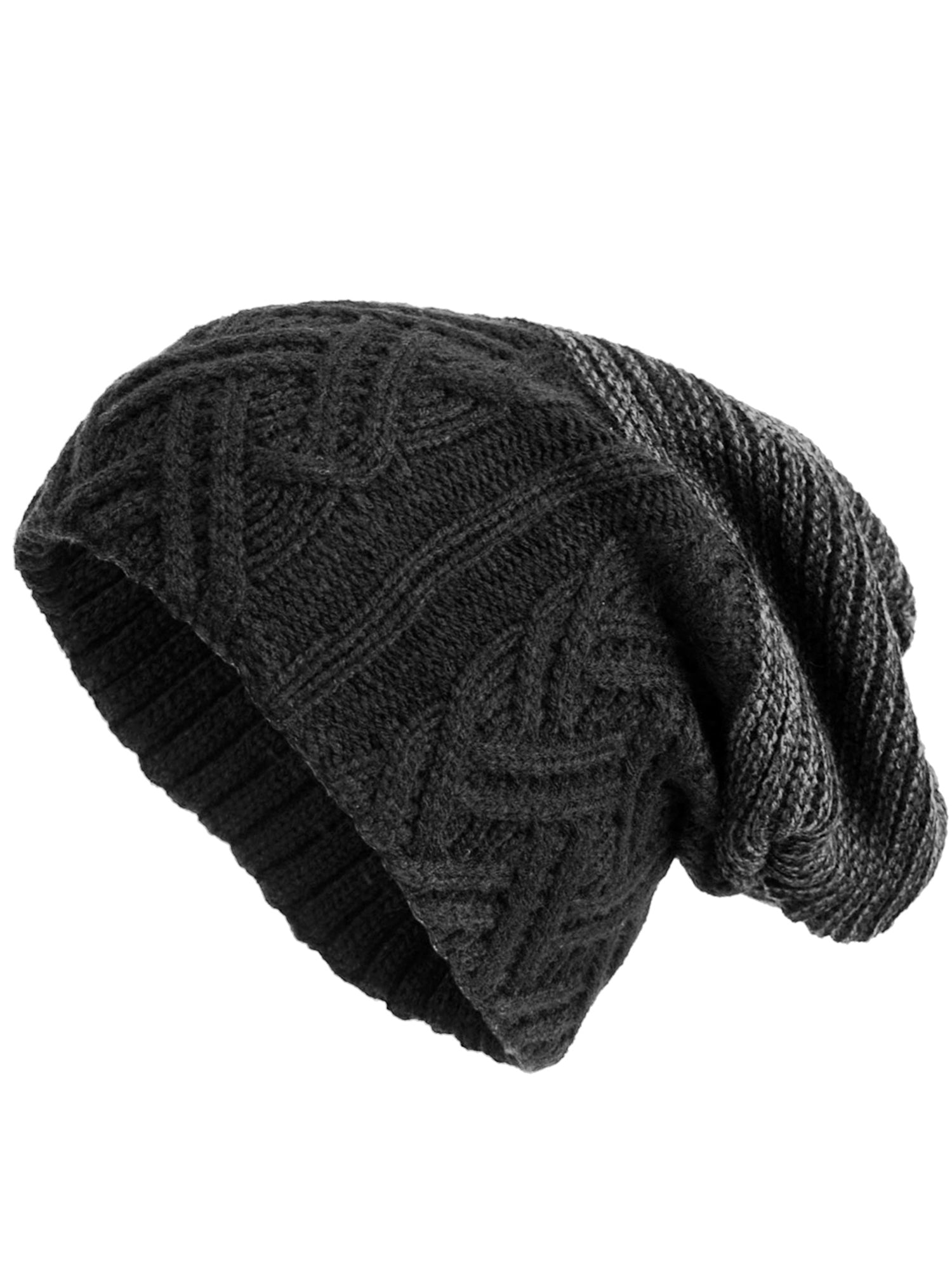 Mens Black Cable Knit Winter Slouchy Baggy Hat With Fur Lining ... a359d7ccdae