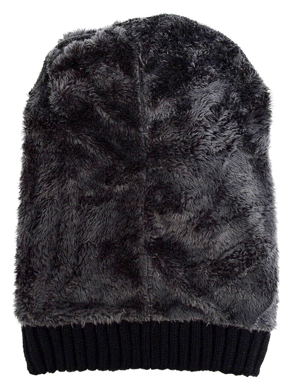 Mens Black Knit Hat With Fur Lining