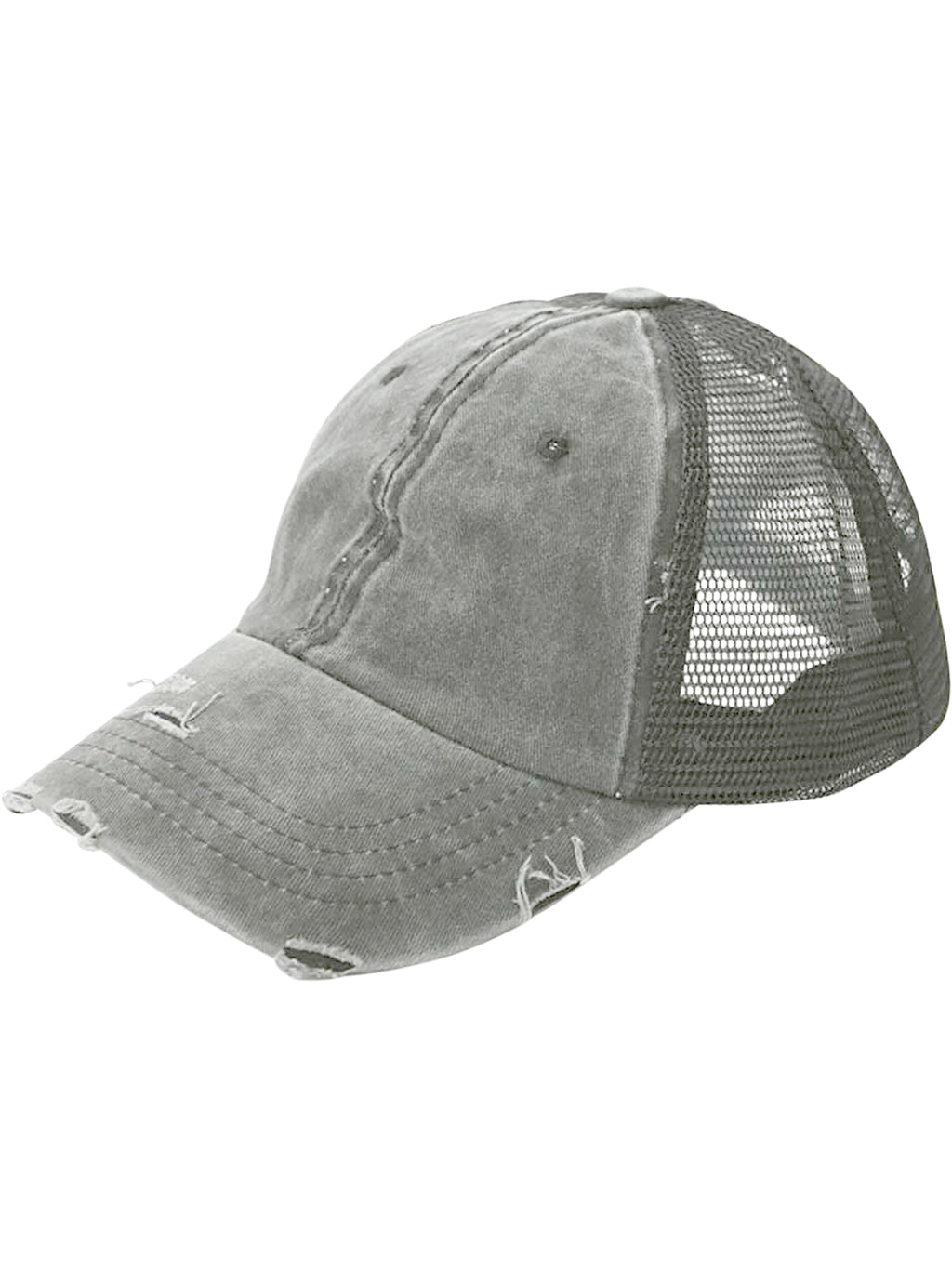 Gray Baseball Ponytail Hat