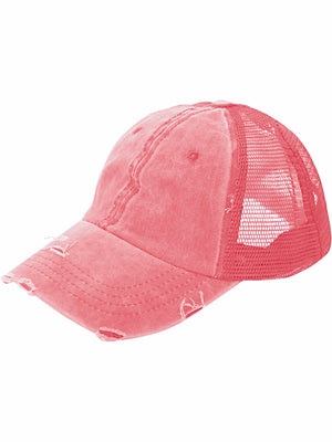 Red Baseball Ponytail Hat