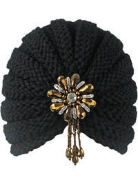 Black Knit Beaded Turban Head Wrap