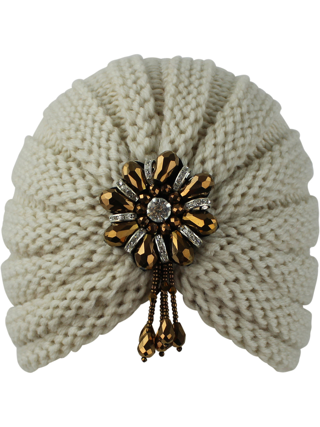 Beige Knit Beaded Turban Head Wrap
