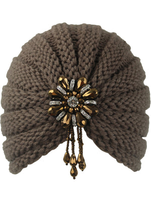 Taupe Knit Beaded Turban Head Wrap