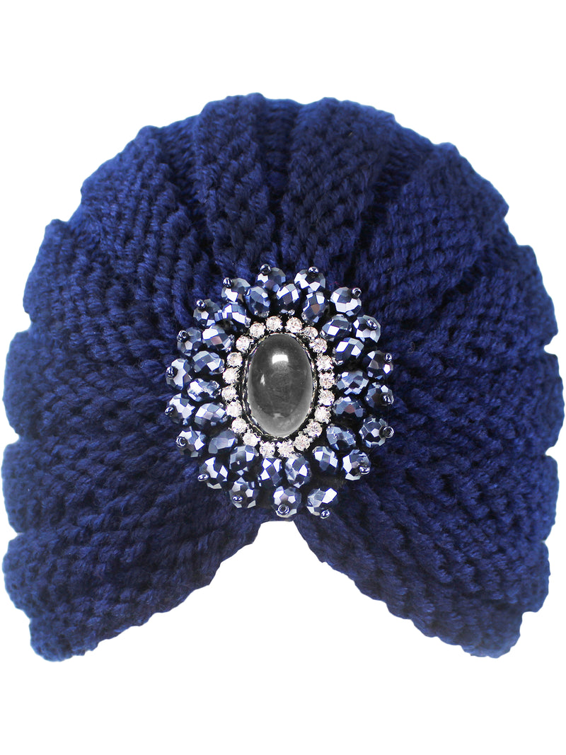 Navy Blue Knit Medallion Turban Head Wrap
