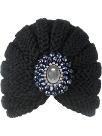 Black Knit Medallion Turban Head Wrap