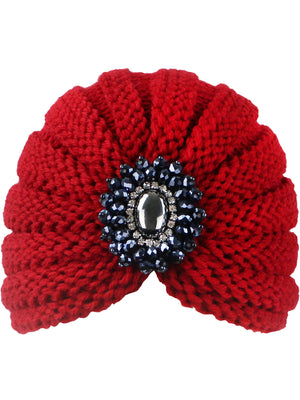 Red Knit Medallion Turban Head Wrap