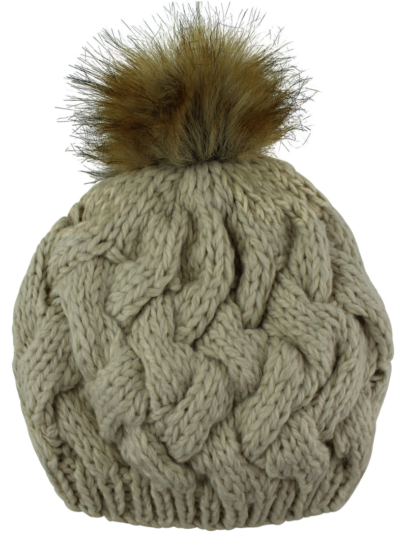 Beige Knit Beret Beanie Hat With Fur Pom Pom