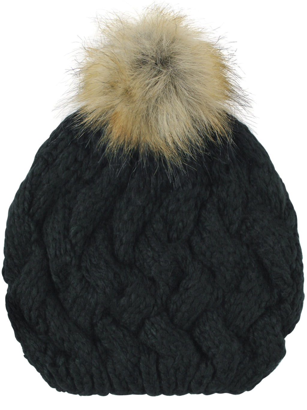 Black Knit Beret Beanie Hat With Fur Pom Pom
