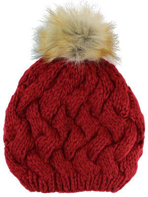 Red Knit Beret Beanie Hat With Fur Pom Pom