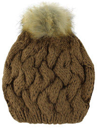 Brown Knit Beret Beanie Hat With Fur Pom Pom