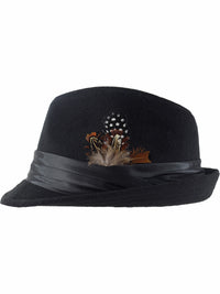 Black Wool Felt Fedora Hat With Feather Trim
