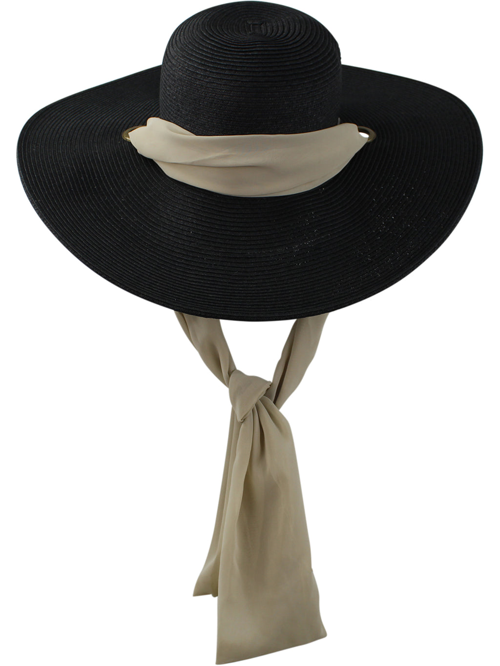 Black Toyo Braid Beach Floppy Hat With Chiffon Tie