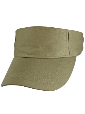 Khaki Beige 100% Cotton Sun Sports Visor Hat