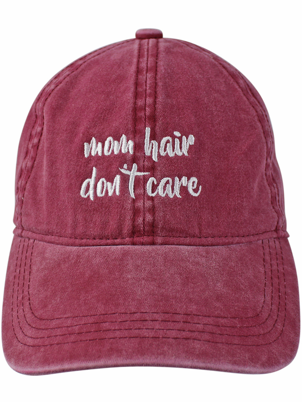 Burgundy Mom Hair Don�t Care Baseball Cap
