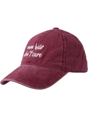 Burgundy Mom Hair Don't Care Baseball Cap