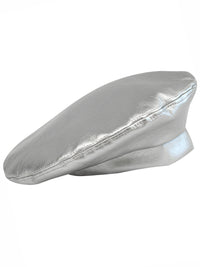 Silver Vegan Leather Beret Cap Hat