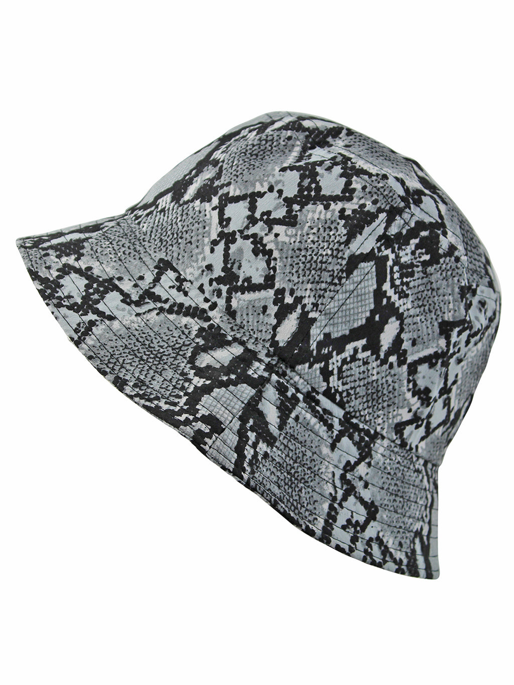 Gray & Black Snake Print Bucket Hat