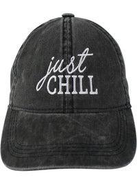 Black Just Chill Baseball Cap Hat