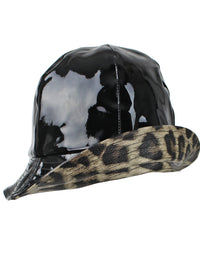 Black Water Proof Bucket Rain Hat With Trim